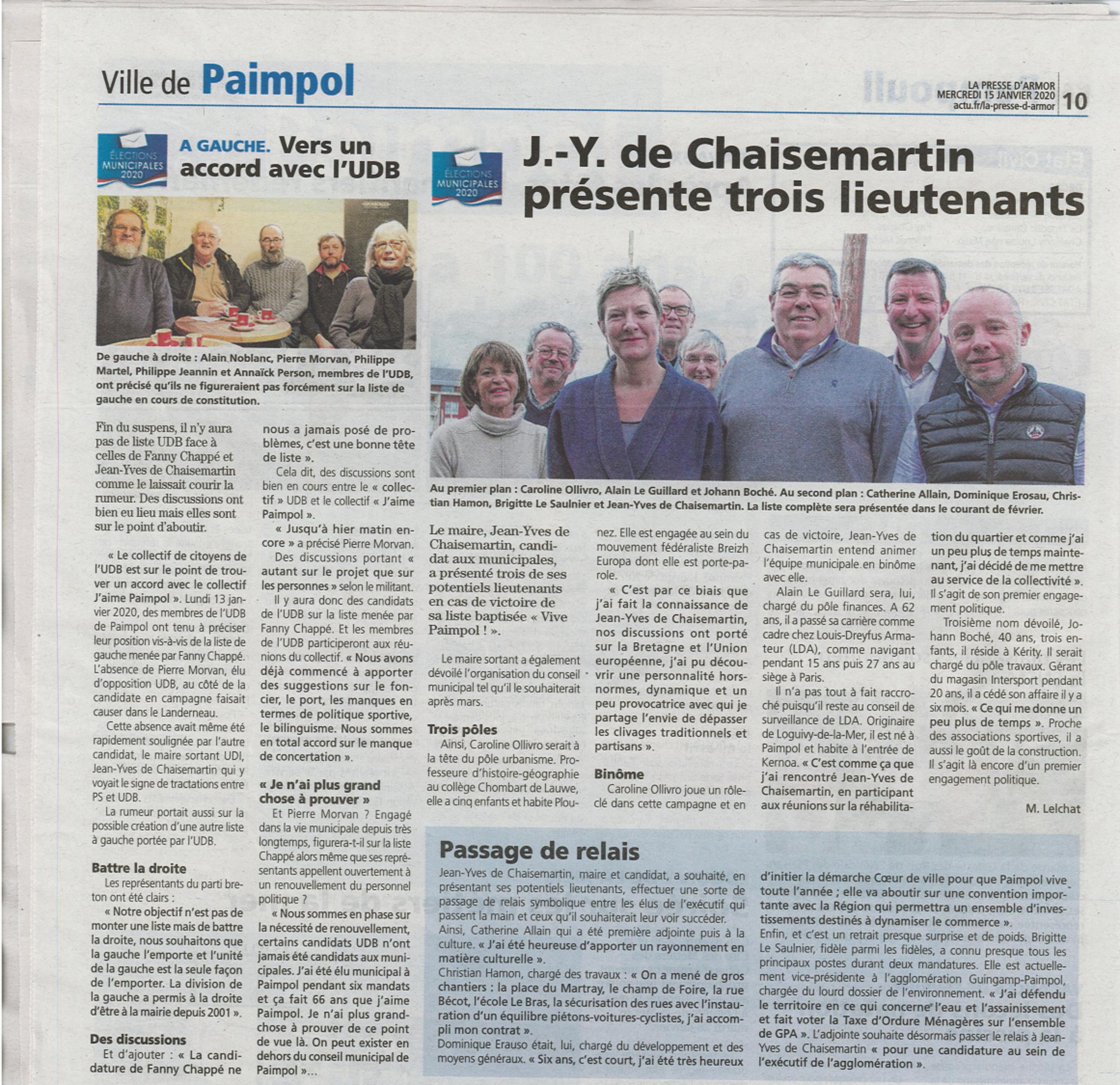 """Municipales 2020 : J-Y de Chaisemartin présente ses """"bras droits"""""""
