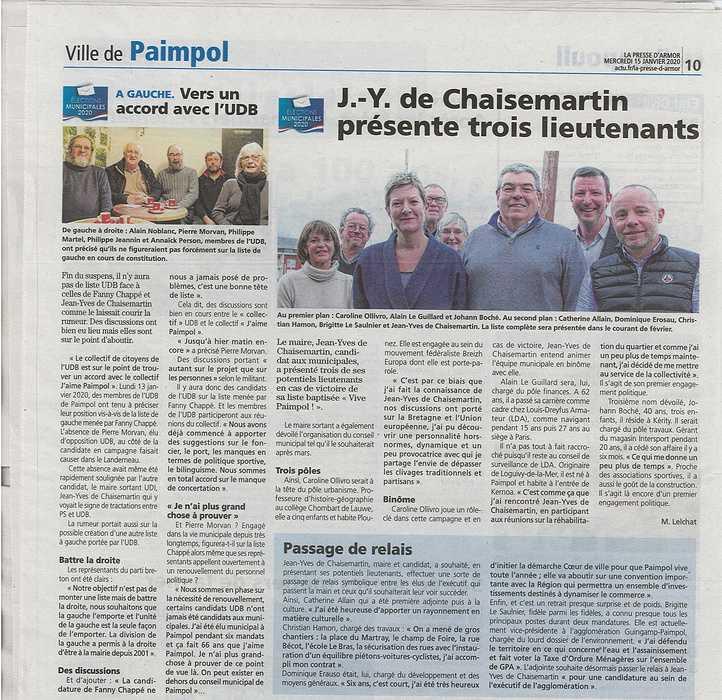 """Municipales 2020 : J-Y de Chaisemartin présente ses """"bras droits"""" 0"""