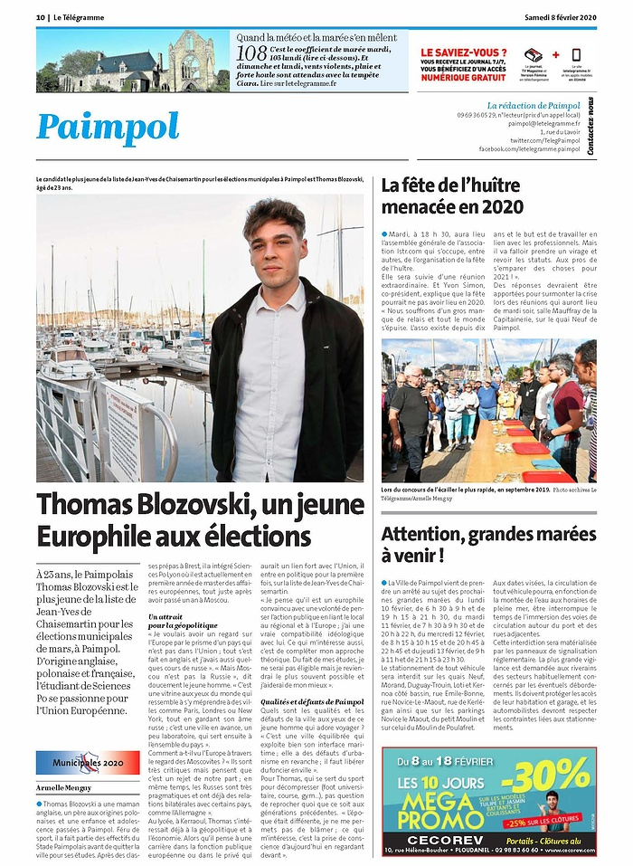 Thomas Blozovski, un jeune Europhile aux élections letélégramme080220