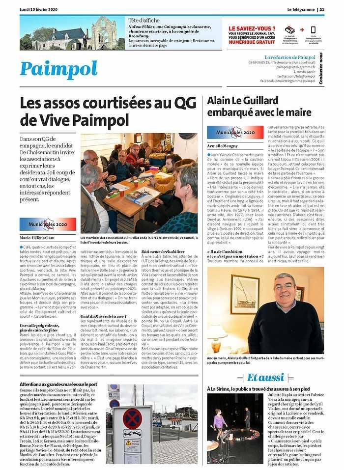 """""""Les assos courtisées au QG de Vive Paimpol"""" letélégramme100220"""