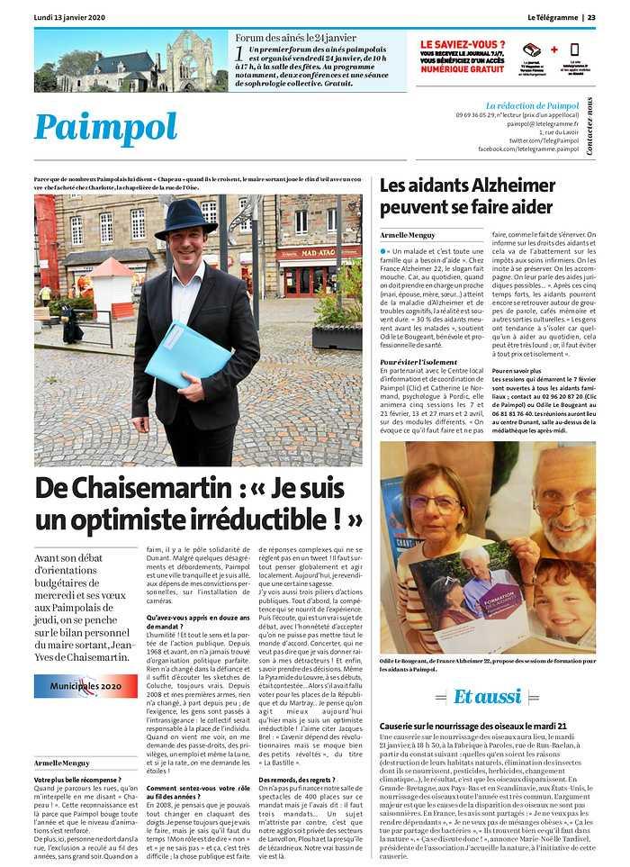 """De Chaisemartin : """"Je suis un optimiste irréductible"""" 0"""